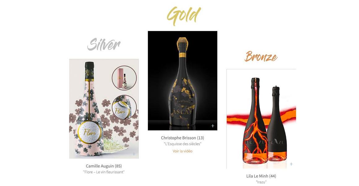 étiquettes de vins désignées par les étudiants de l'école de design Brassart