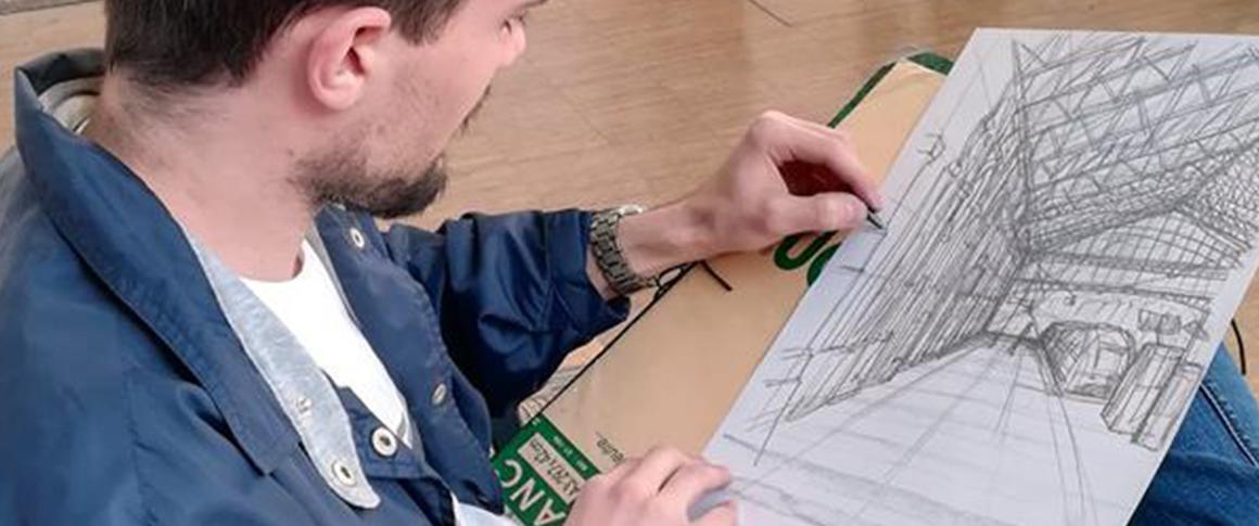 croquis d'un étudiant de l'école de design graphique Brassart Tours