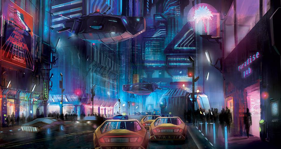 projet école arts graphiques illustration : Ville futuriste