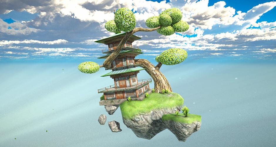 projet école jeux vidéo : Ile flottante