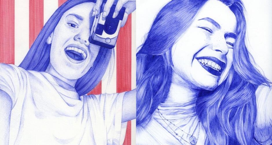projet école classes préparatoires : Autoportraits au stylo BIC
