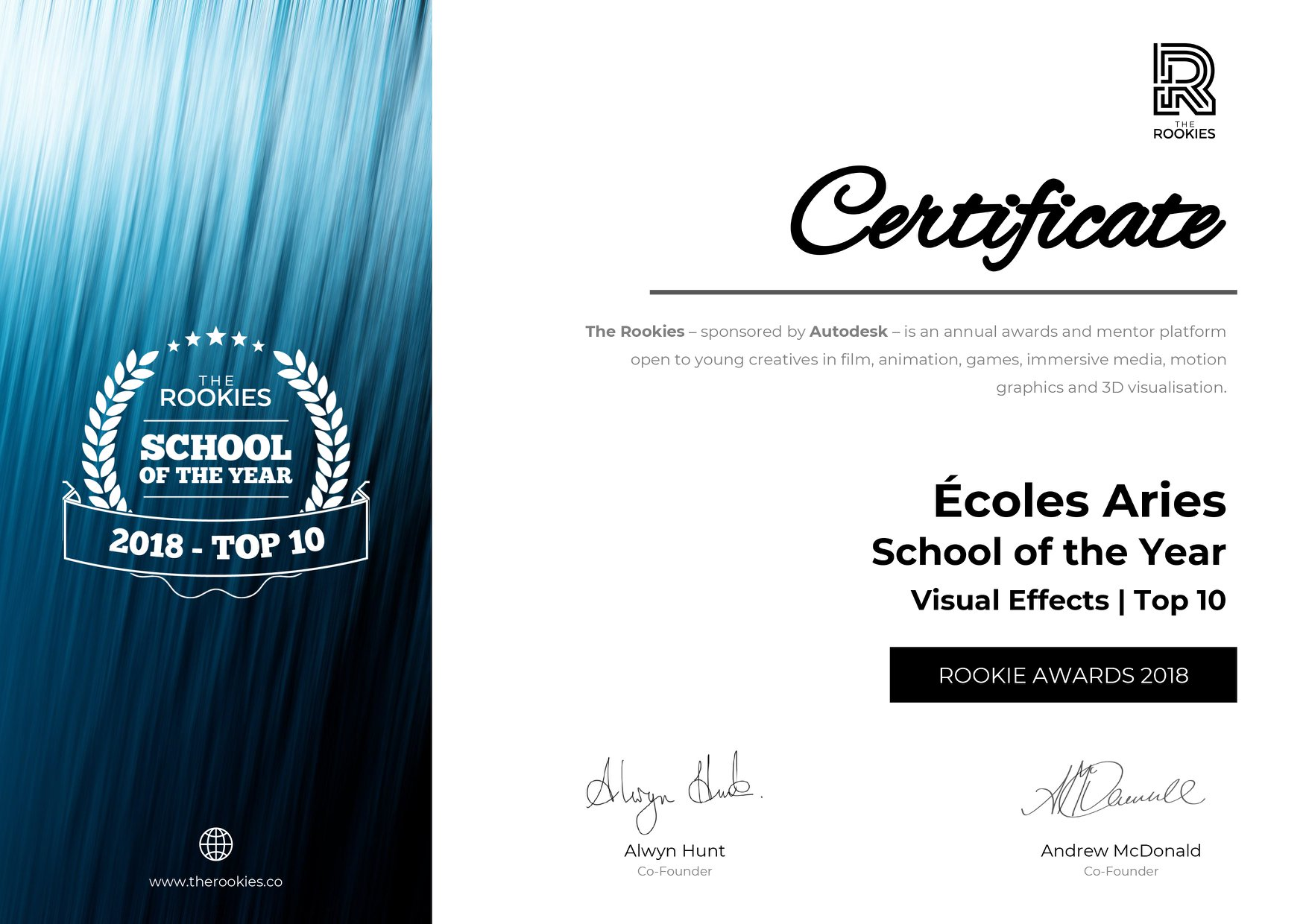 the rookies awards 2018 : certificat école animation 3d et vfx