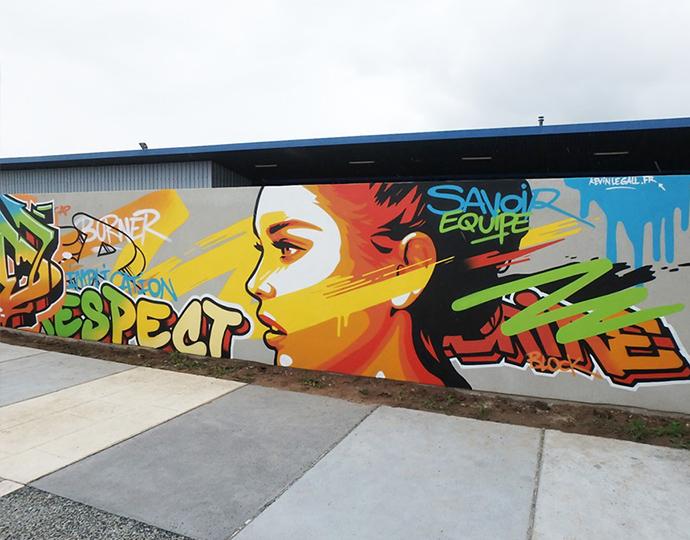 Réalisation street art de Kevin Le Gall : étudiant arts graphiques école Brassart